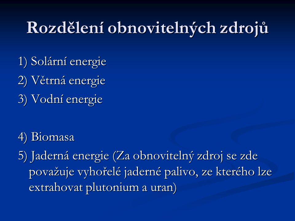 Rozdělení obnovitelných zdrojů