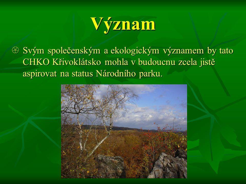 Význam Svým společenským a ekologickým významem by tato CHKO Křivoklátsko mohla v budoucnu zcela jistě aspirovat na status Národního parku.