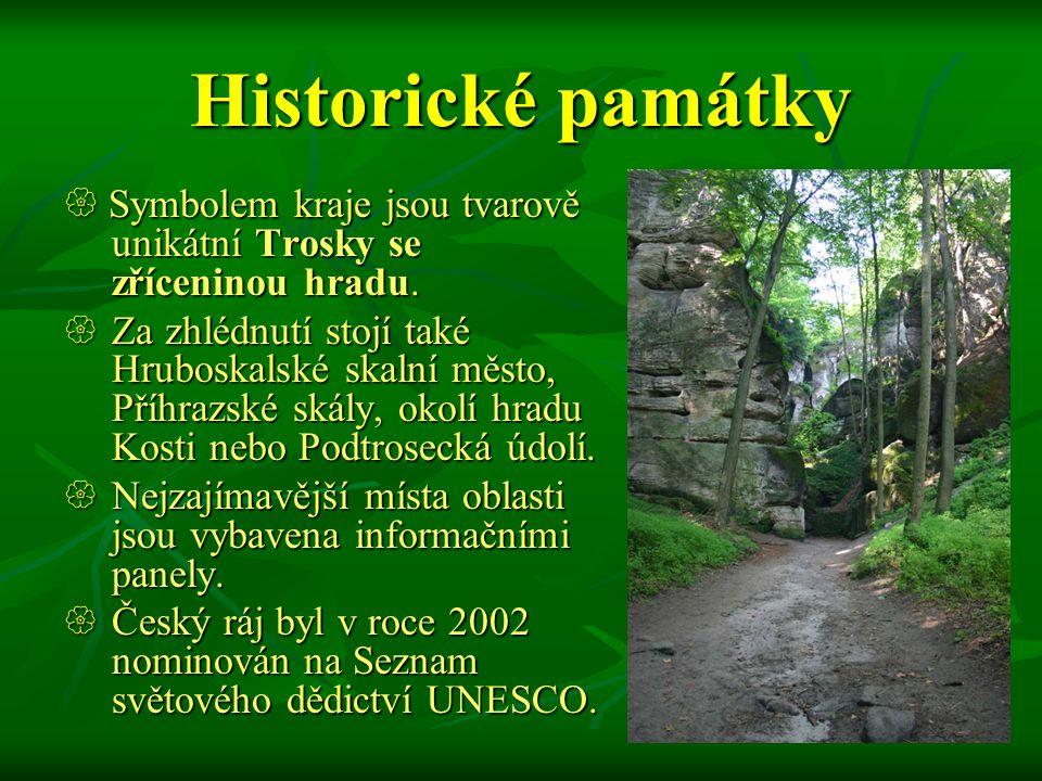 Historické památky Symbolem kraje jsou tvarově unikátní Trosky se zříceninou hradu.