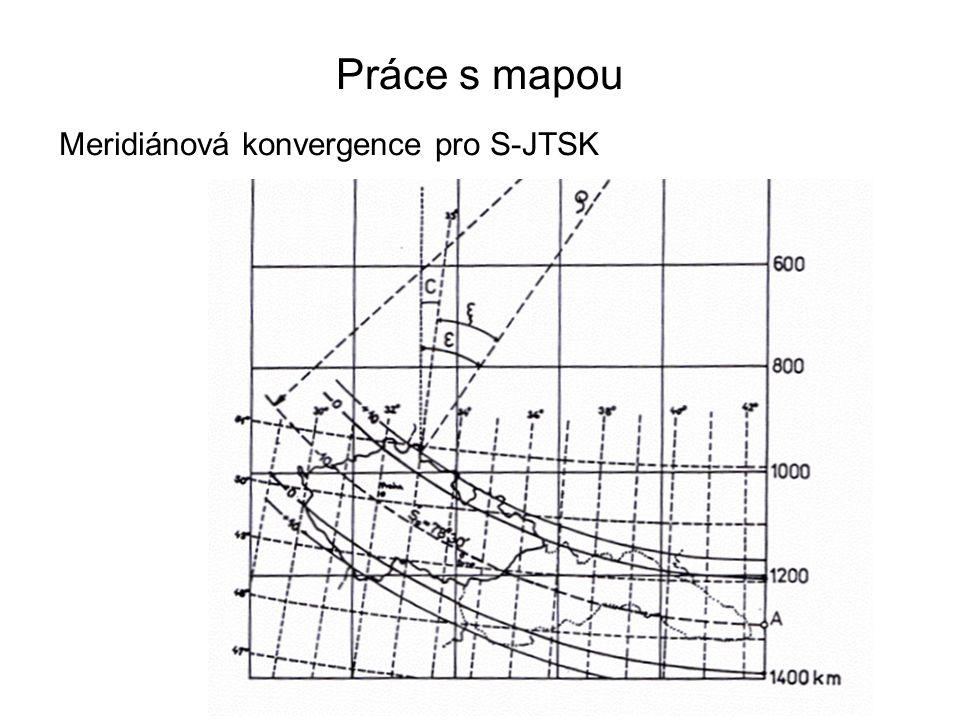 Práce s mapou Meridiánová konvergence pro S-JTSK 12
