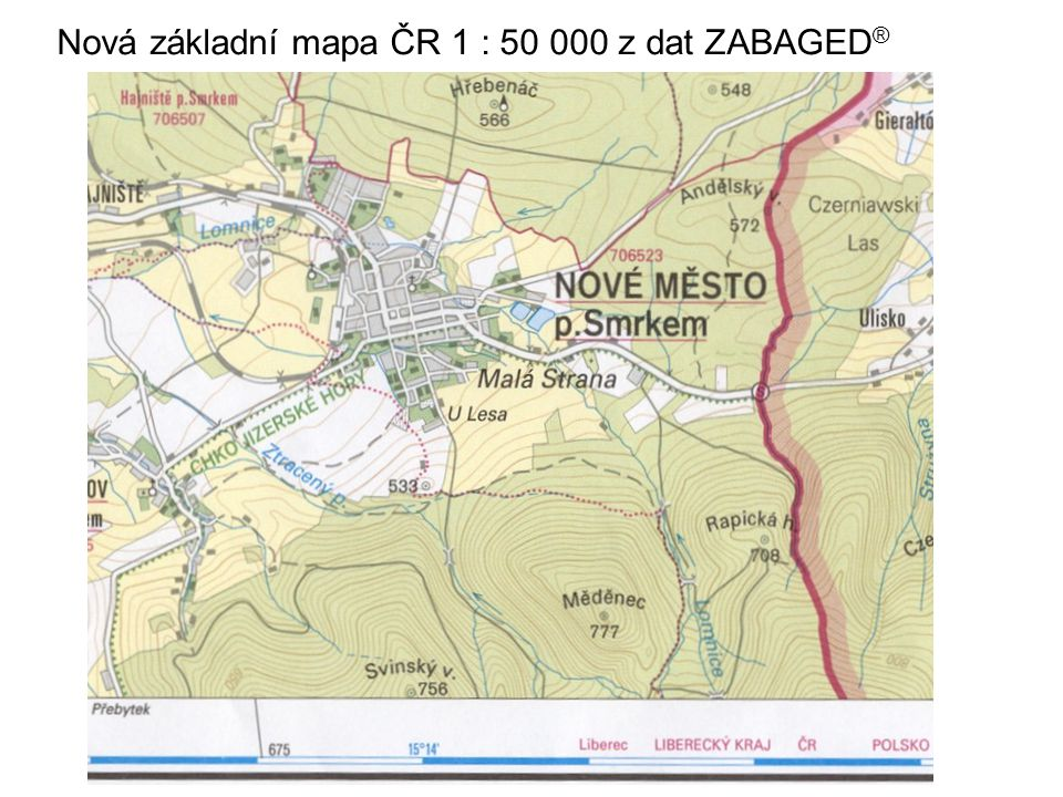 Nová základní mapa ČR 1 : 50 000 z dat ZABAGED®