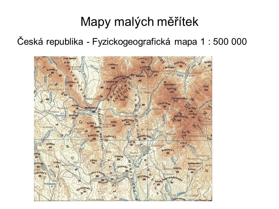 Mapy malých měřítek Česká republika - Fyzickogeografická mapa 1 : 500 000 44
