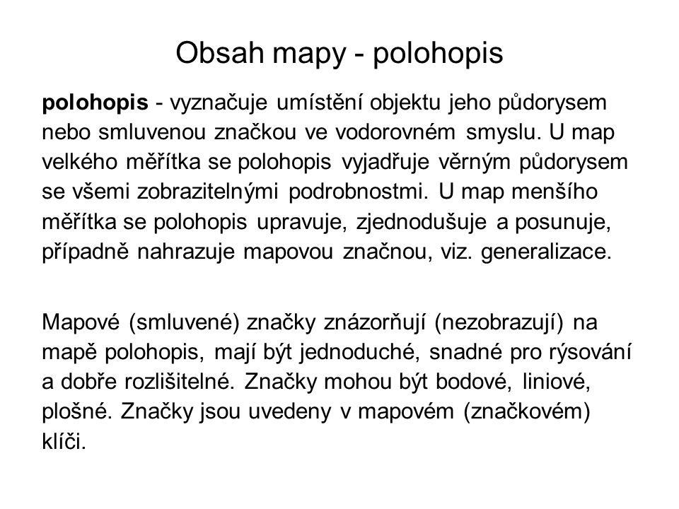 Obsah mapy - polohopis