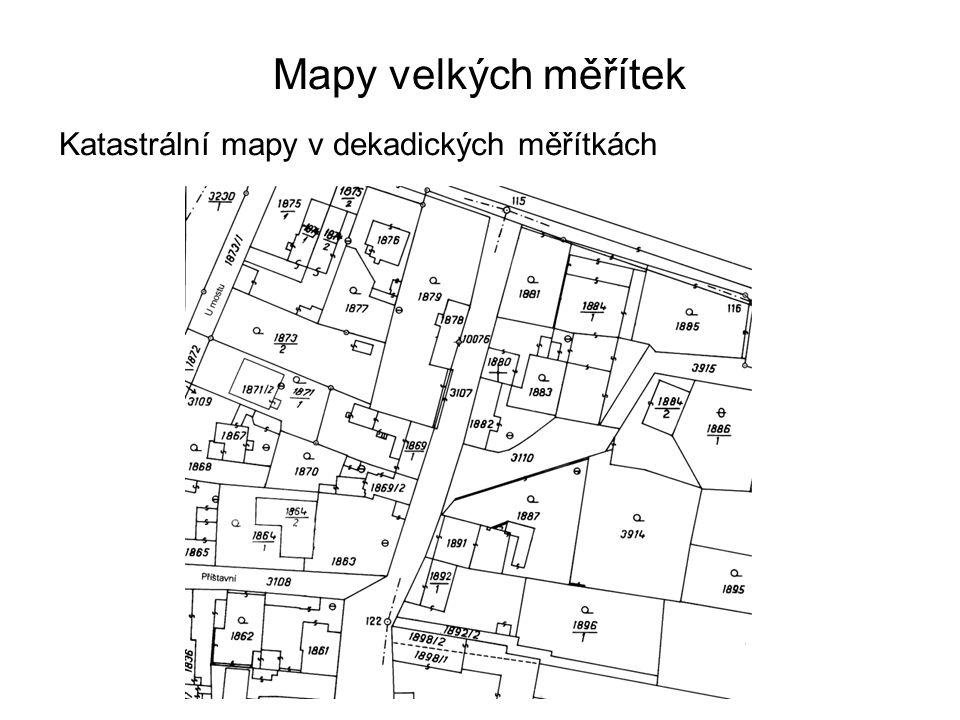 Mapy velkých měřítek Katastrální mapy v dekadických měřítkách 36