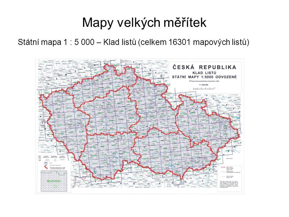 Mapy velkých měřítek Státní mapa 1 : 5 000 – Klad listů (celkem 16301 mapových listů) 42