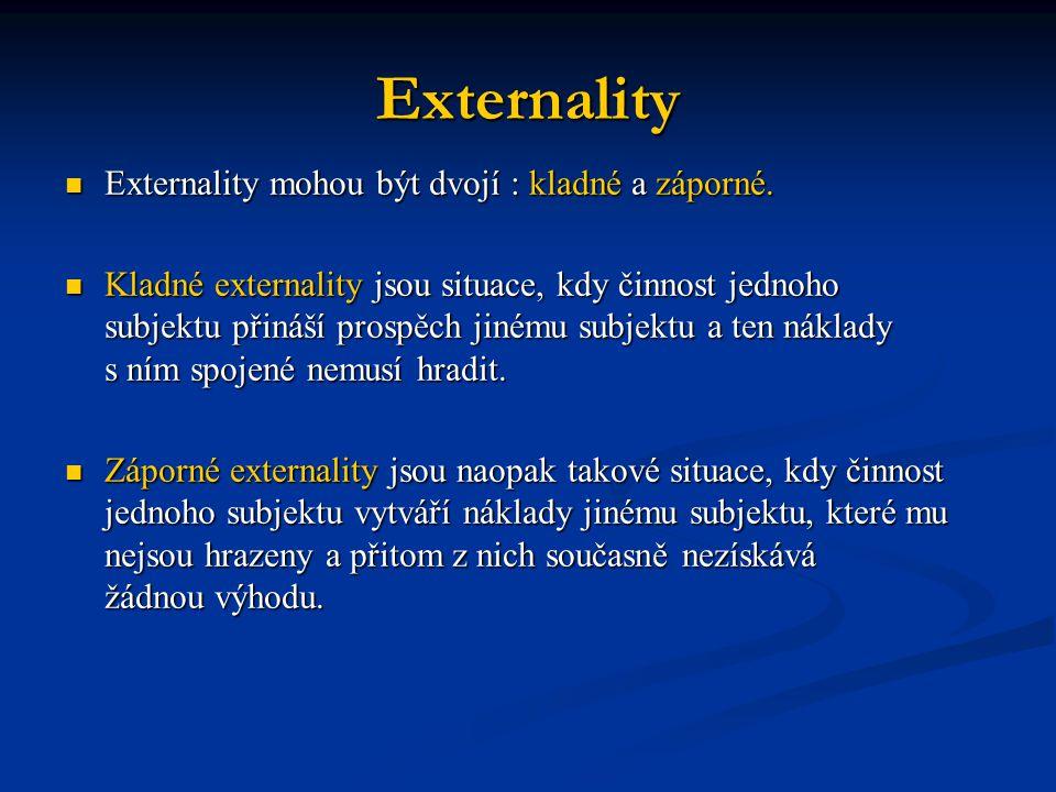 Externality Externality mohou být dvojí : kladné a záporné.