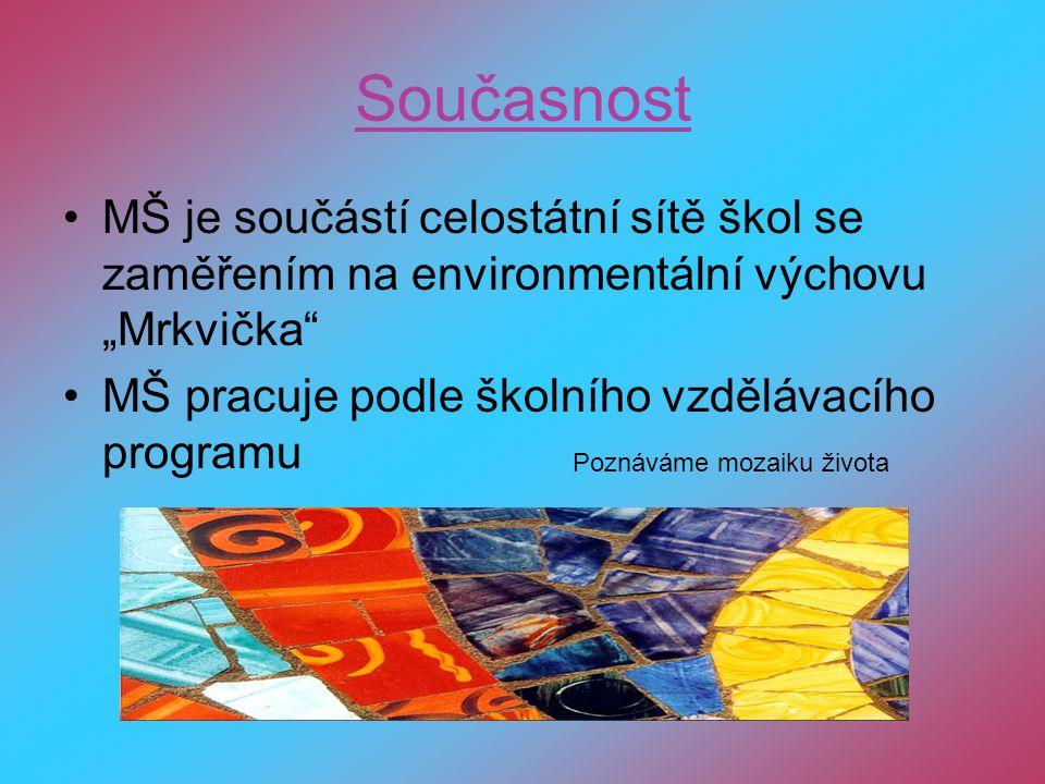 """Současnost MŠ je součástí celostátní sítě škol se zaměřením na environmentální výchovu """"Mrkvička MŠ pracuje podle školního vzdělávacího programu."""
