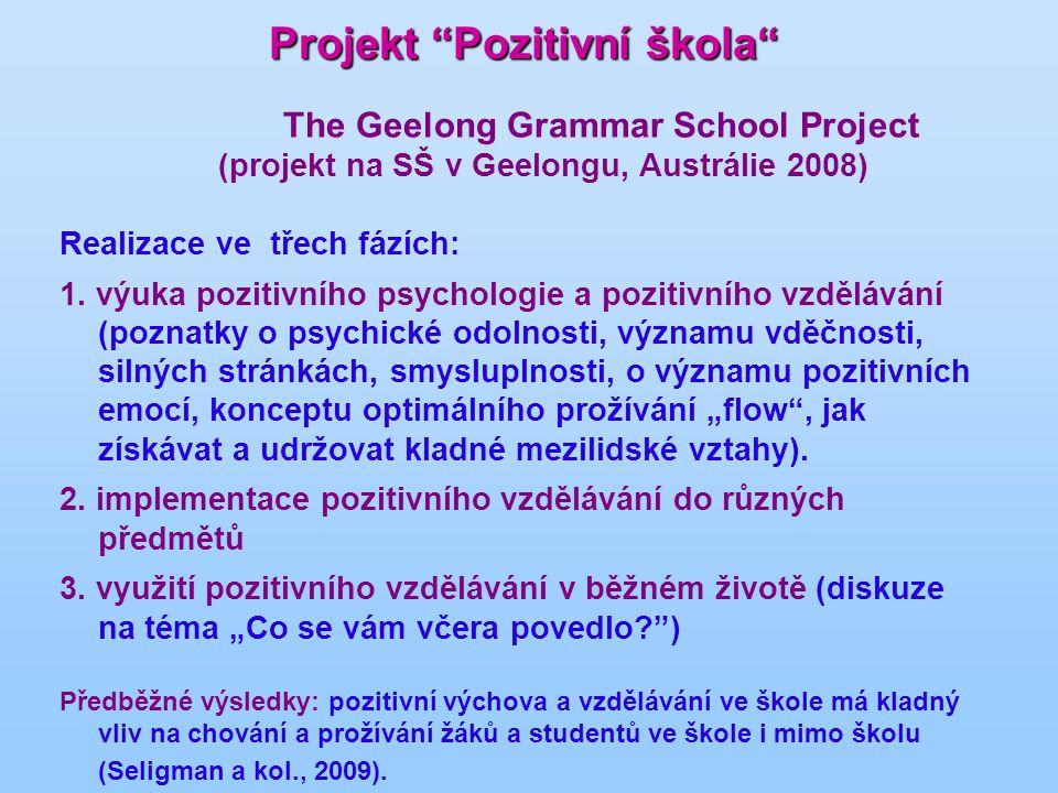 Projekt Pozitivní škola