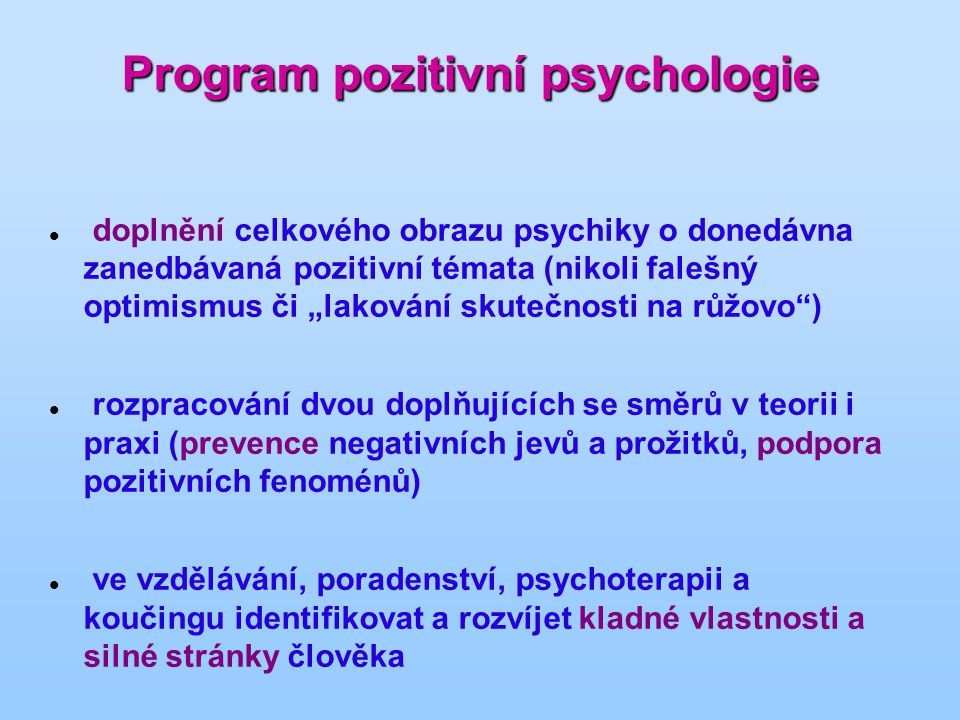 Program pozitivní psychologie