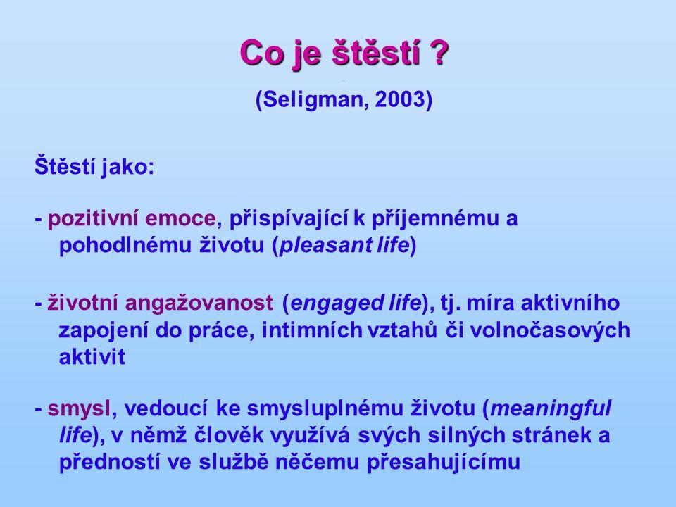 Co je štěstí . (Seligman, 2003)