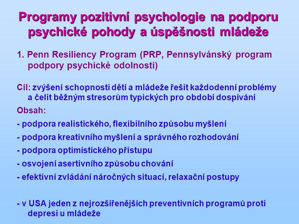 Programy pozitivní psychologie na podporu psychické pohody a úspěšnosti mládeže