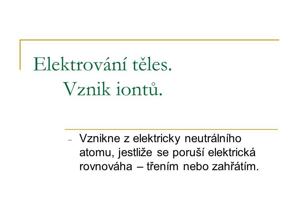 Elektrování těles. Vznik iontů.