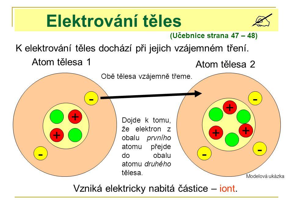 Elektrování těles - - + + + + + - - -