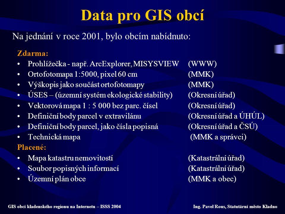 Data pro GIS obcí Na jednání v roce 2001, bylo obcím nabídnuto: