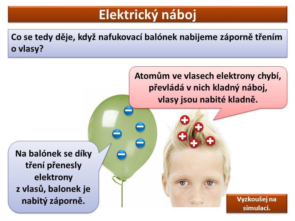 Elektrický náboj Co se tedy děje, když nafukovací balónek nabijeme záporně třením o vlasy