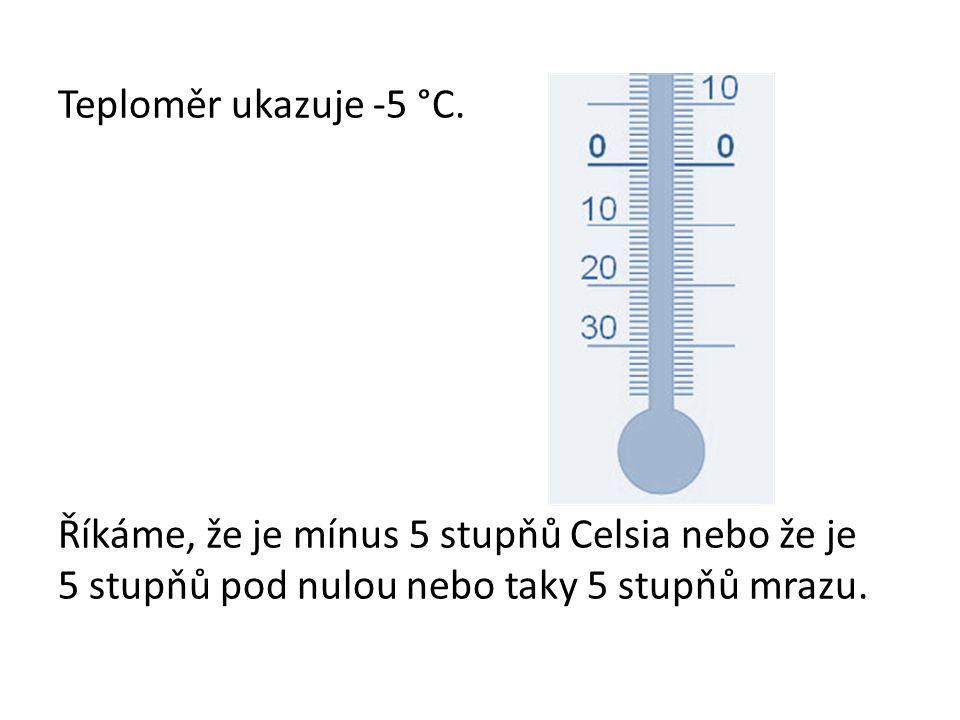 Teploměr ukazuje -5 °C.