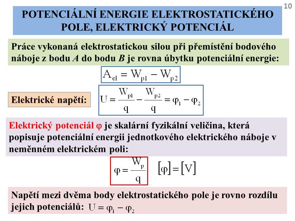 Potenciální energie elektrostatického pole, elektrický potenciál