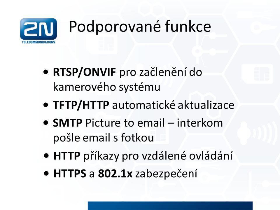 Podporované funkce RTSP/ONVIF pro začlenění do kamerového systému
