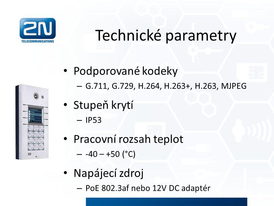 Technické parametry Podporované kodeky Stupeň krytí