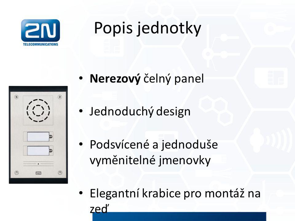 Popis jednotky Nerezový čelný panel Jednoduchý design