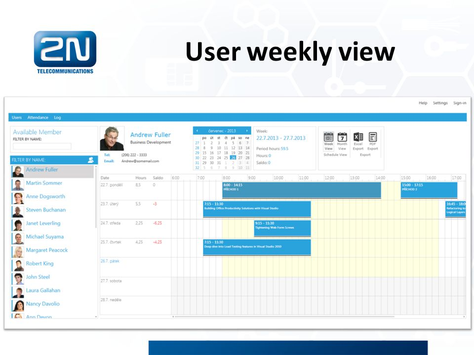 User weekly view
