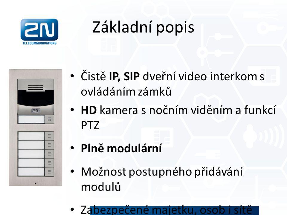 Základní popis Čistě IP, SIP dveřní video interkom s ovládáním zámků