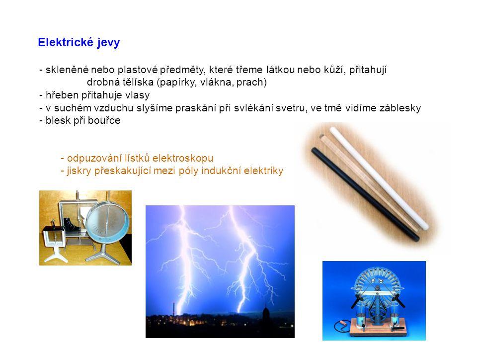 Elektrické jevy - skleněné nebo plastové předměty, které třeme látkou nebo kůží, přitahují. drobná tělíska (papírky, vlákna, prach)