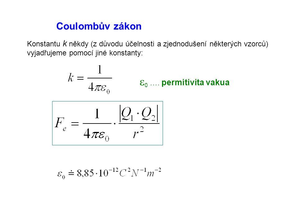 e0 .... permitivita vakua Coulombův zákon