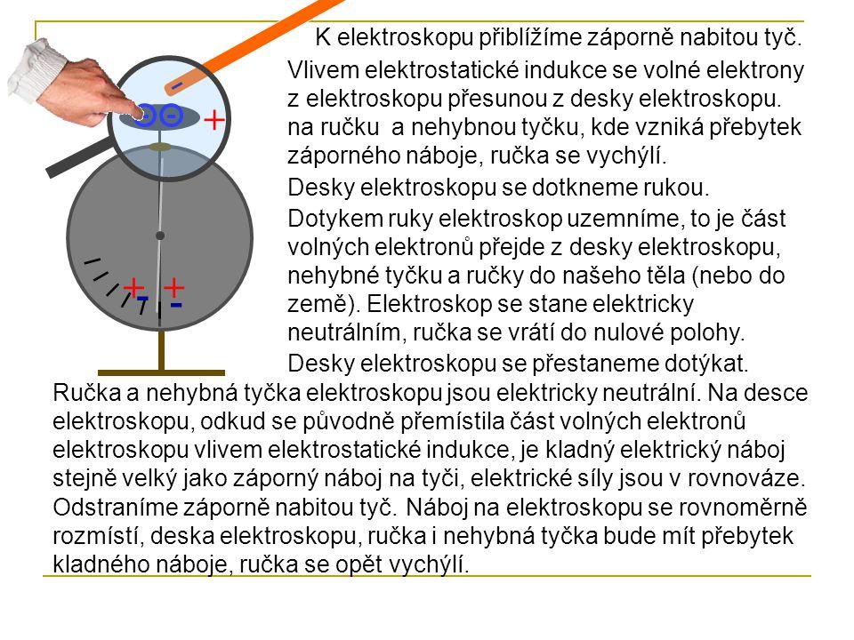 + + + - - K elektroskopu přiblížíme záporně nabitou tyč.