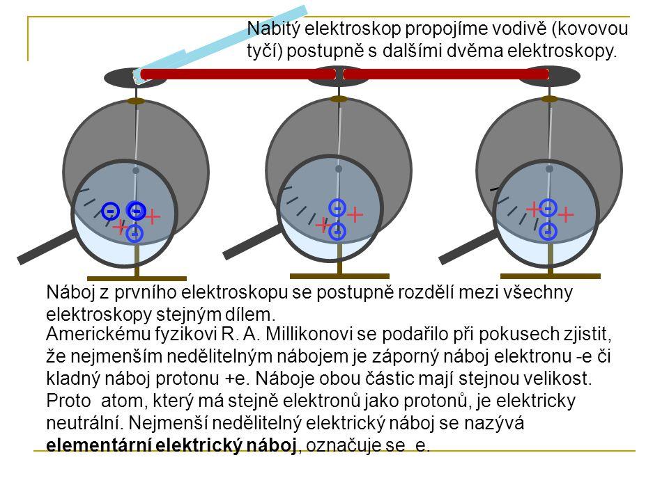 Nabitý elektroskop propojíme vodivě (kovovou tyčí) postupně s dalšími dvěma elektroskopy.