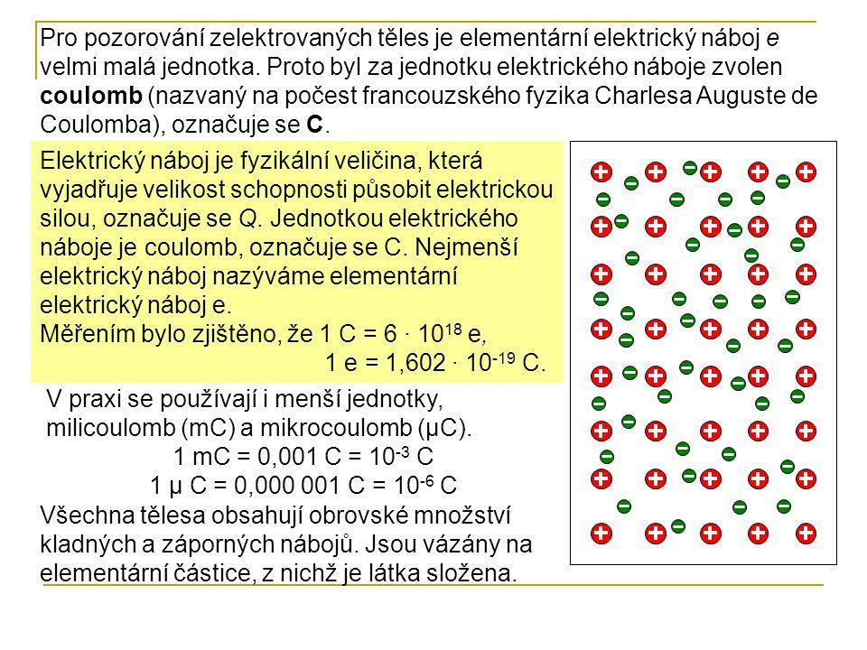 Pro pozorování zelektrovaných těles je elementární elektrický náboj e velmi malá jednotka. Proto byl za jednotku elektrického náboje zvolen coulomb (nazvaný na počest francouzského fyzika Charlesa Auguste de Coulomba), označuje se C.