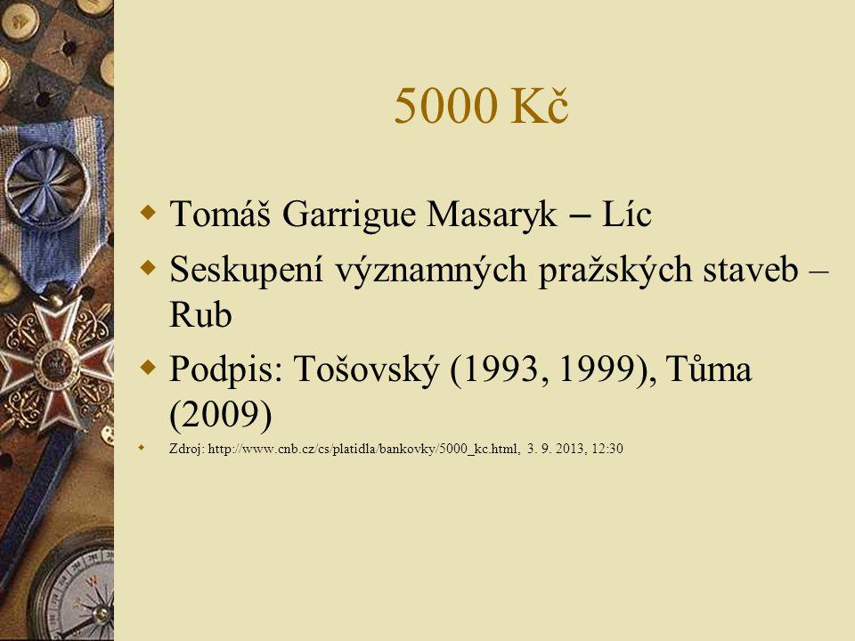5000 Kč Tomáš Garrigue Masaryk – Líc