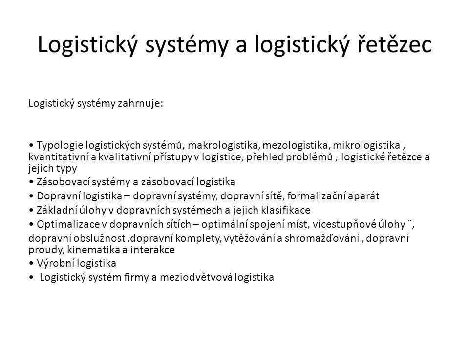 Logistický systémy a logistický řetězec