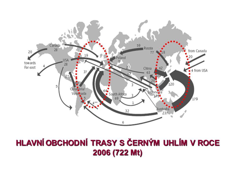 HLAVNÍ OBCHODNÍ TRASY S ČERNÝM UHLÍM V ROCE 2006 (722 Mt)