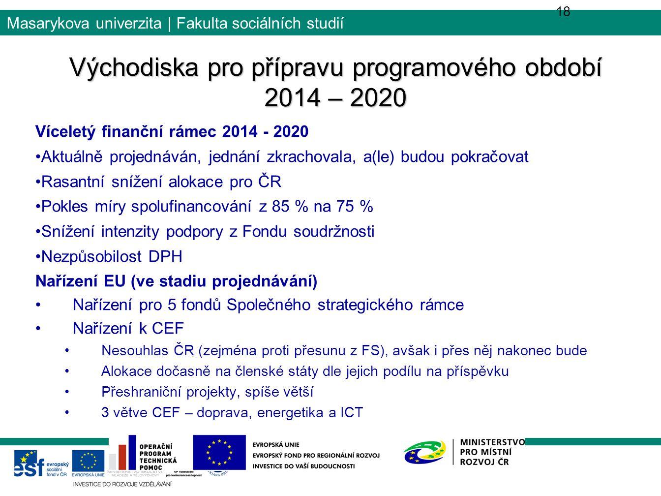 Východiska pro přípravu programového období 2014 – 2020