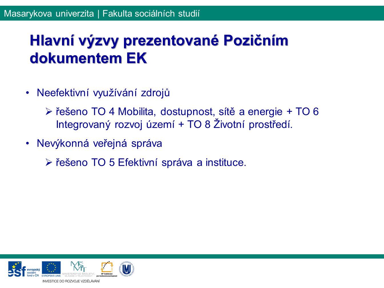 Hlavní výzvy prezentované Pozičním dokumentem EK