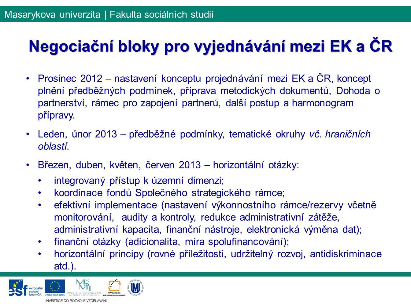 Negociační bloky pro vyjednávání mezi EK a ČR