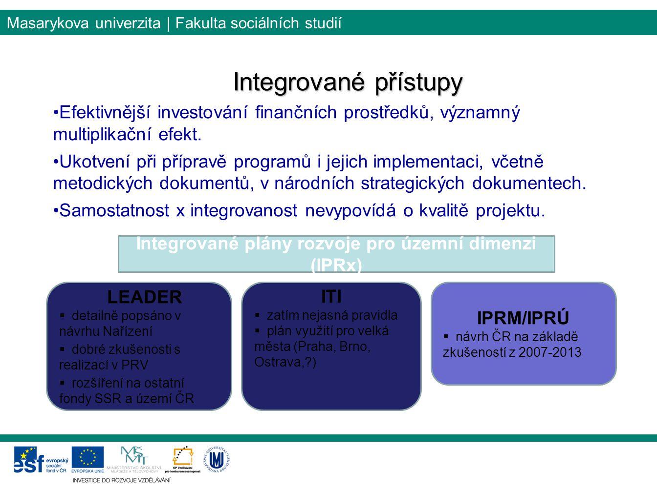 Integrované plány rozvoje pro územní dimenzi (IPRx)