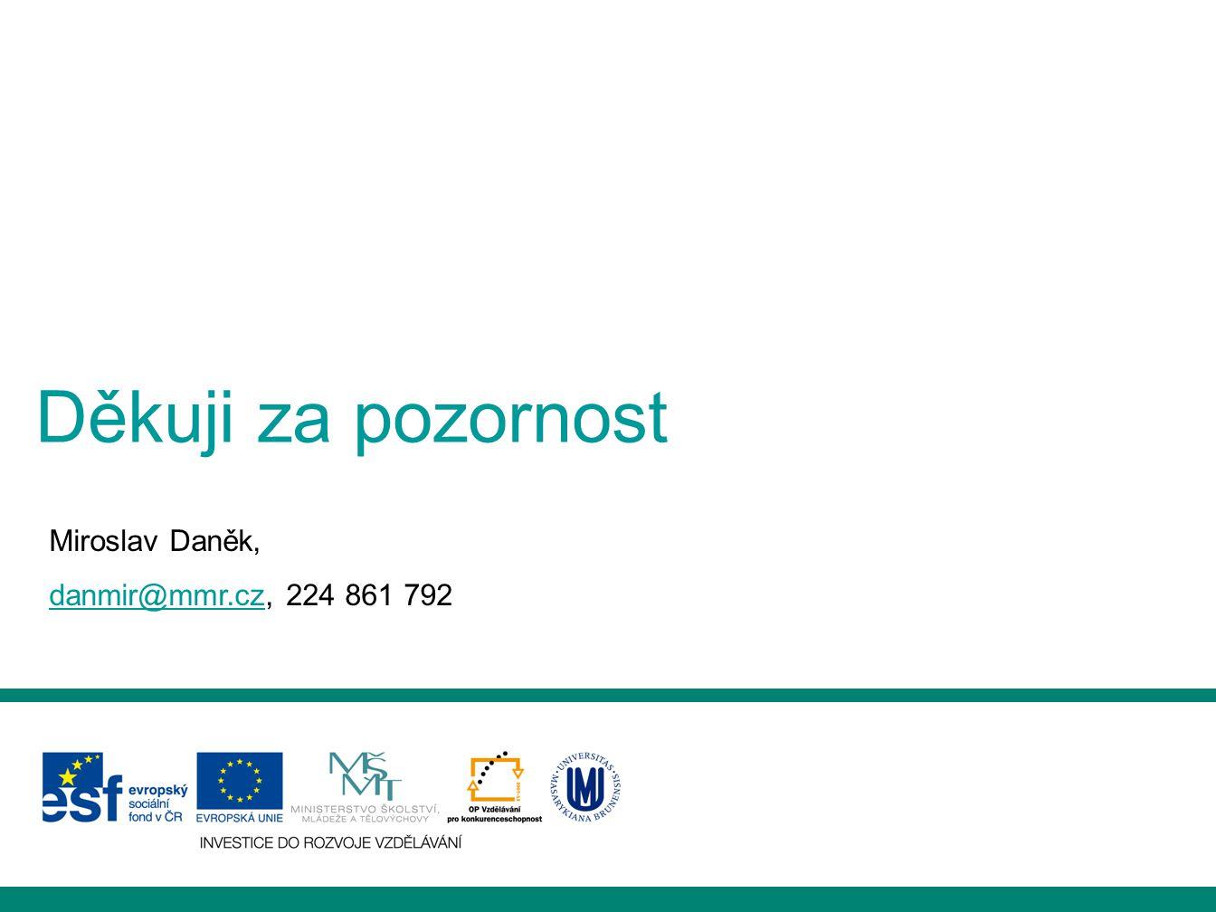 Děkuji za pozornost Miroslav Daněk, danmir@mmr.cz, 224 861 792