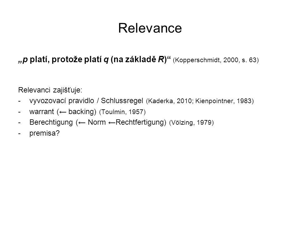 """Relevance """"p platí, protože platí q (na základě R) (Kopperschmidt, 2000, s. 63) Relevanci zajišťuje:"""