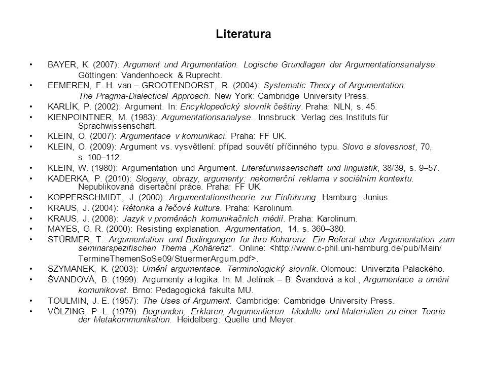 Literatura BAYER, K. (2007): Argument und Argumentation. Logische Grundlagen der Argumentationsanalyse.