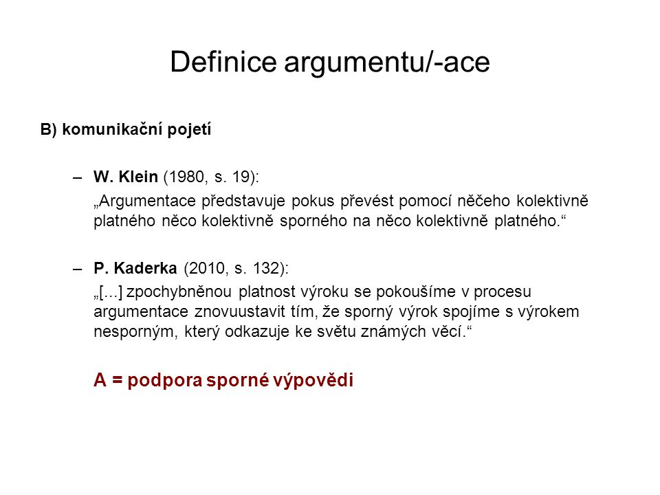 Definice argumentu/-ace