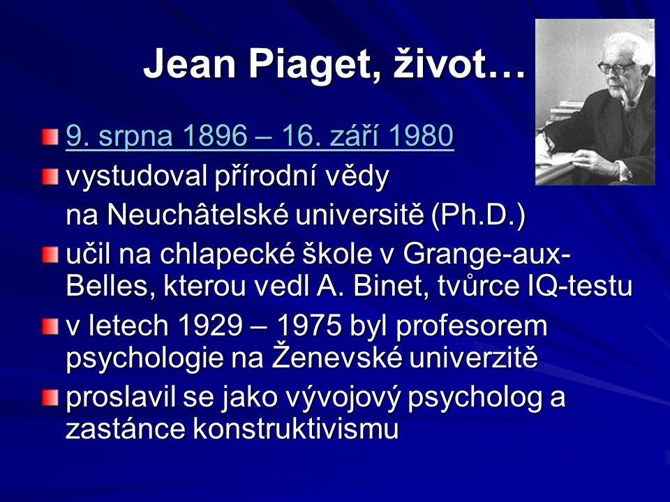 Jean Piaget, život… 9. srpna 1896 – 16. září 1980
