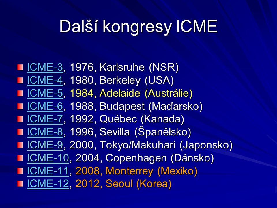Další kongresy ICME ICME-3, 1976, Karlsruhe (NSR)
