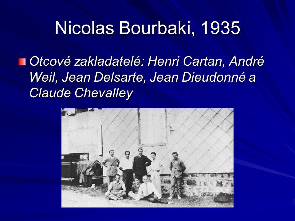 Nicolas Bourbaki, 1935 Otcové zakladatelé: Henri Cartan, André Weil, Jean Delsarte, Jean Dieudonné a Claude Chevalley.