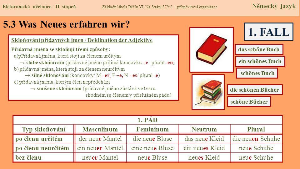 1. FALL 5.3 Was Neues erfahren wir 1. PÁD Typ skloňování Masculinum
