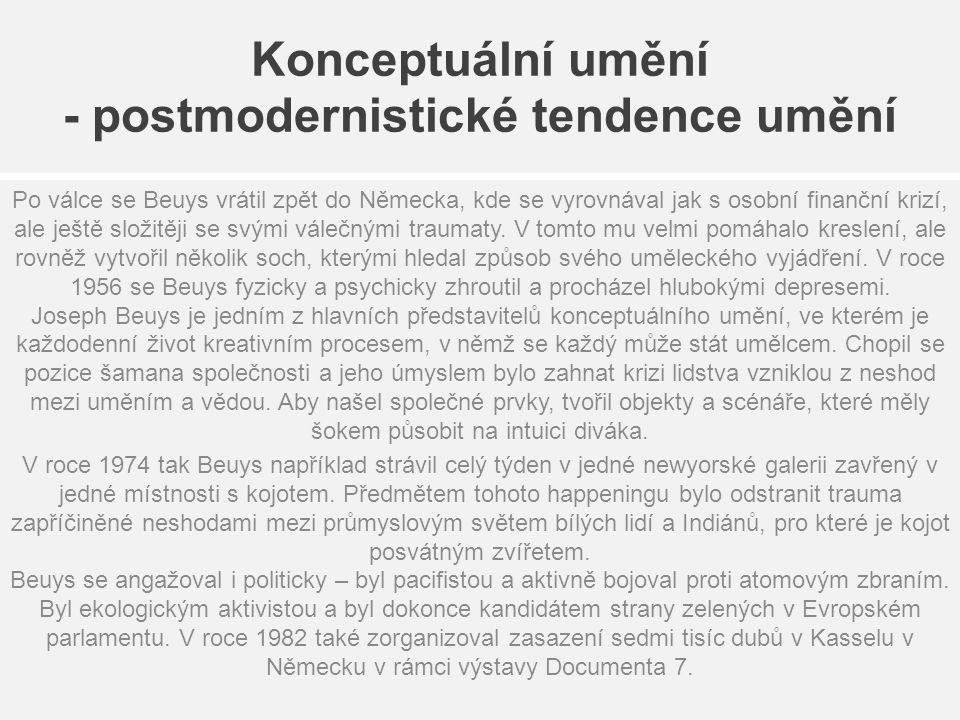 Konceptuální umění - postmodernistické tendence umění