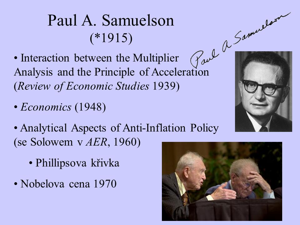 Paul A. Samuelson (*1915) Interaction between the Multiplier Analysis and the Principle of Acceleration (Review of Economic Studies 1939)