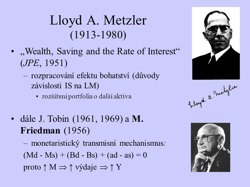 """Lloyd A. Metzler (1913-1980) """"Wealth, Saving and the Rate of Interest (JPE, 1951) rozpracování efektu bohatství (důvody závislosti IS na LM)"""
