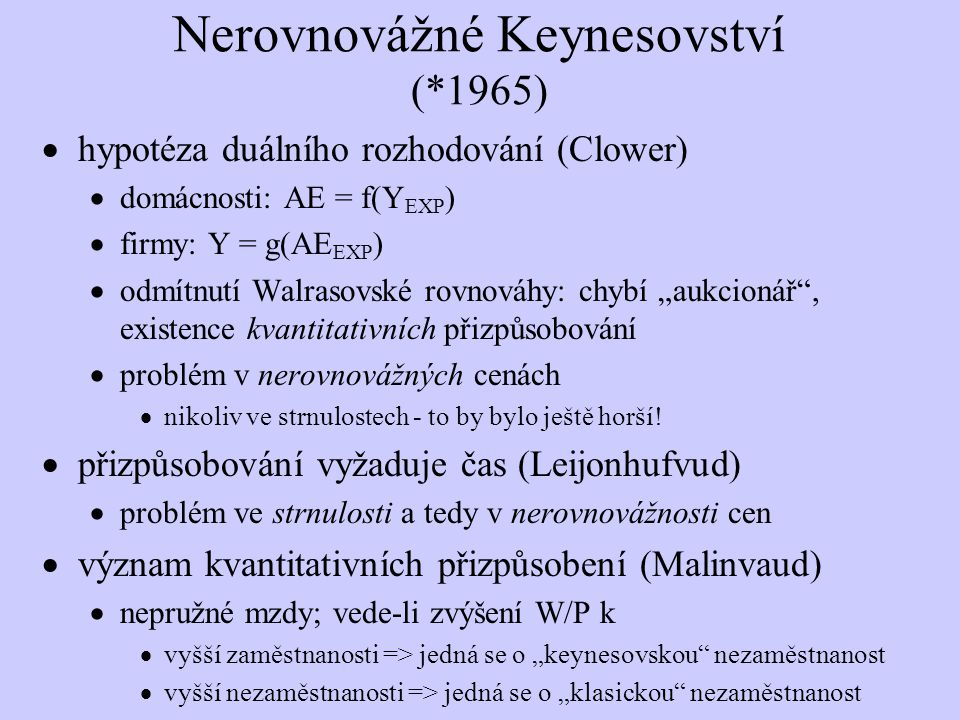 Nerovnovážné Keynesovství (*1965)